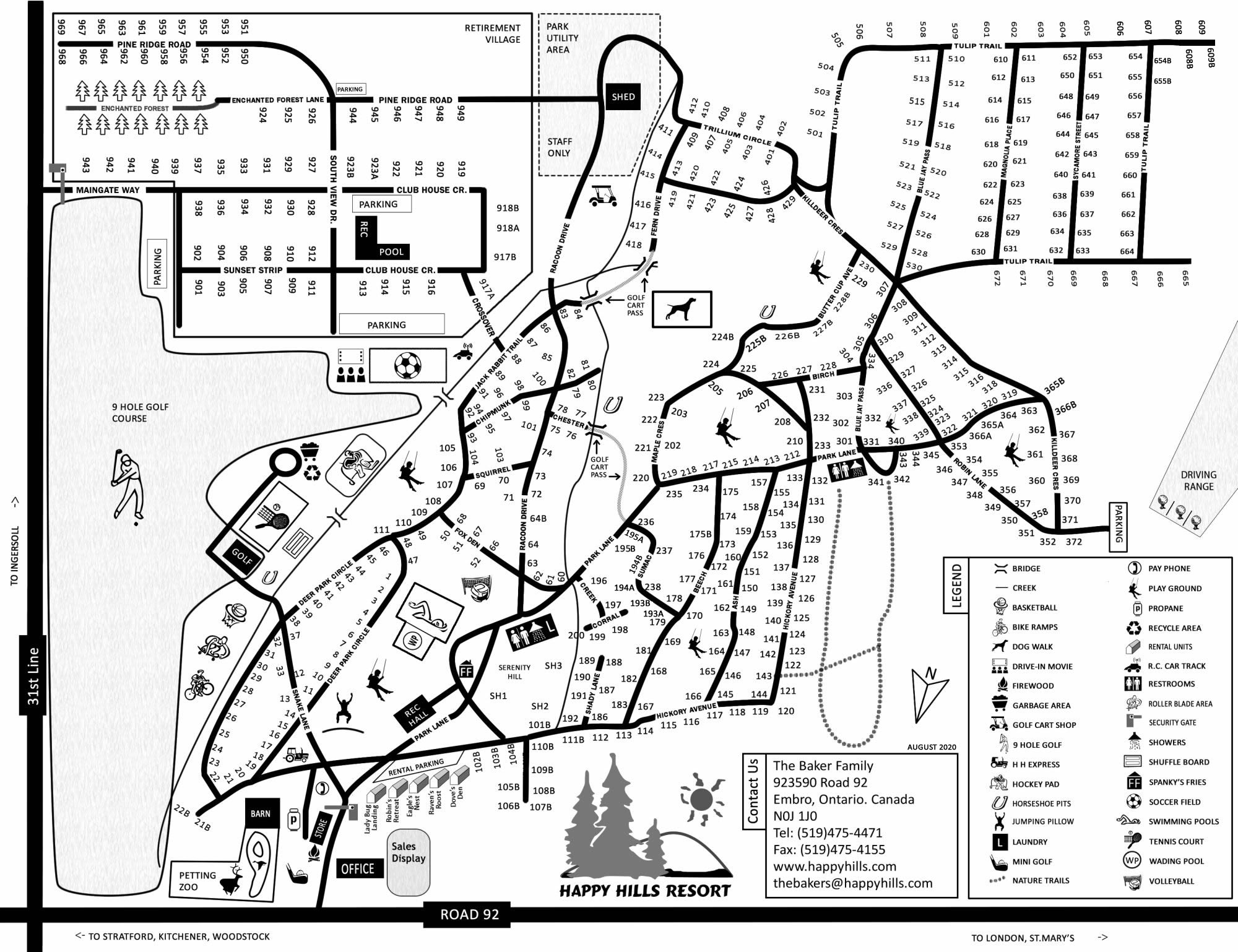 Driving Directions & Park Maps for Happy Hills Resort ... on